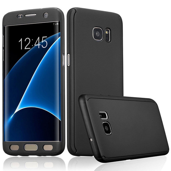 Black Samsung Galaxy S7 Edge  Hybrid 360 Hard Shock Proof Front Back Case  Cover