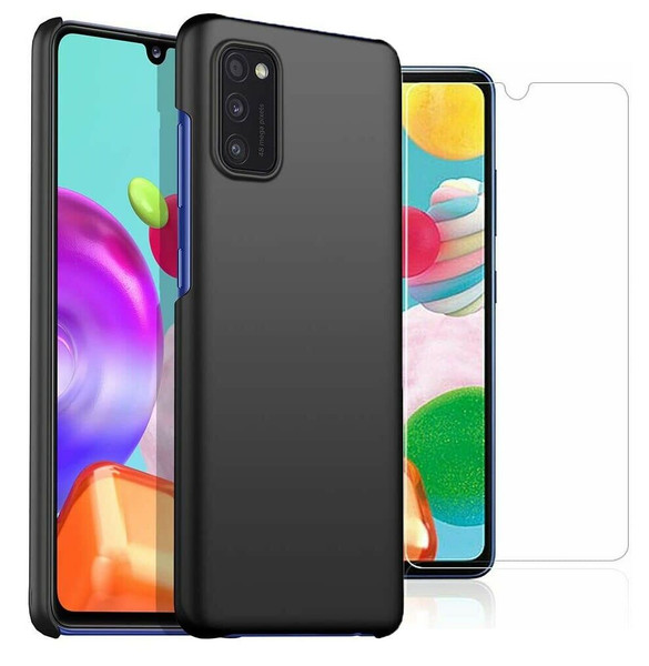 For Samsung Galaxy A41 Case Slim Hard Back Cover & Glass Screen Protector