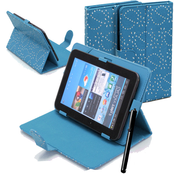 Blue Bling Universal Leather Stand Folding Folio Case for Nook HD 7 inch