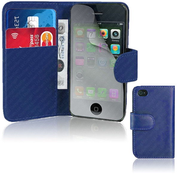 Blue PU Leather Wallet with Card Holder for iPhone 5