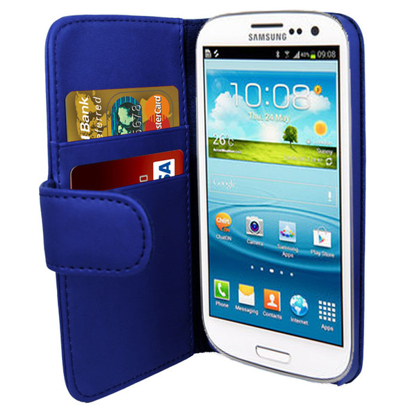 Blue PU Leather Wallet with Card Holder for Samsung Galaxy S3