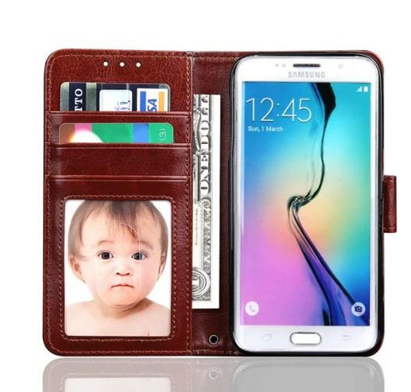 Brown Luxury Wallet Case for Samsung S7 Edge Plus