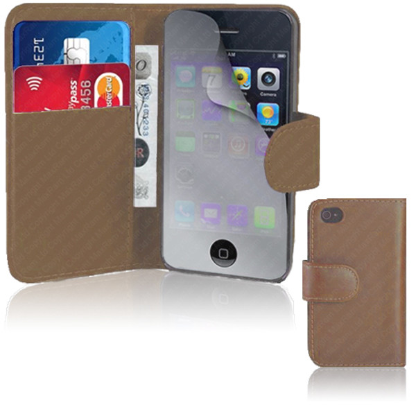 Brown PU Leather Wallet with Card Holder for iPhone 5