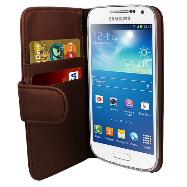 Brown PU Leather Wallet with Card Holder for Samsung Galaxy S4