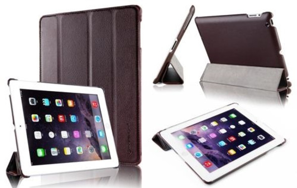 Brown Slim Tri-Fold PU Leather Case for iPad 2/3/4