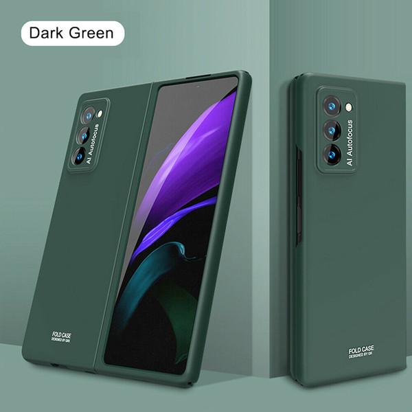 For Samsung Galaxy Z Fold 2 5G Luxury Shockproof Matte Slim PC Phone blackish green Case