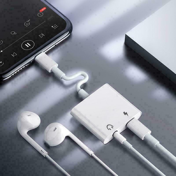 Samsung Note 20 white Type C to 3.5mm AUX Audio Headphone Charging Splitter Adapter
