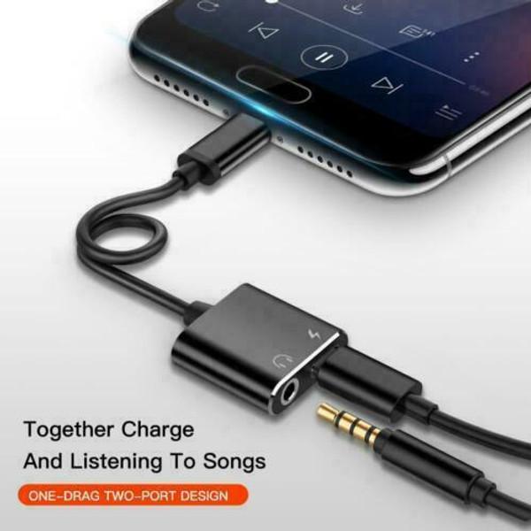 Samsung S20 black Type C to 3.5mm AUX Audio Headphone Charging Splitter Adapter