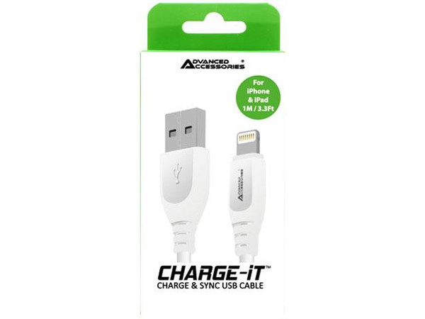Advanced Accessories CharAA CHARGE-IT (1M) 8 Pin USB Data Cable for Apple Lightning devices - 1 Meter-White