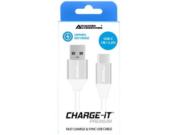 Advanced Accessories Charge IT Premium USB C Cable 1M White