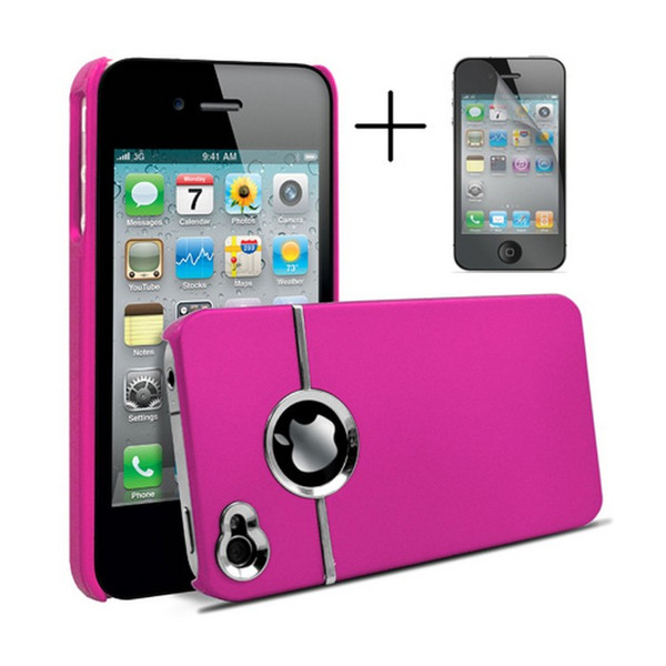 Chrome Series Hard Rubberised Case for iPhone 4/4S + Screen Protector - Hot Pink