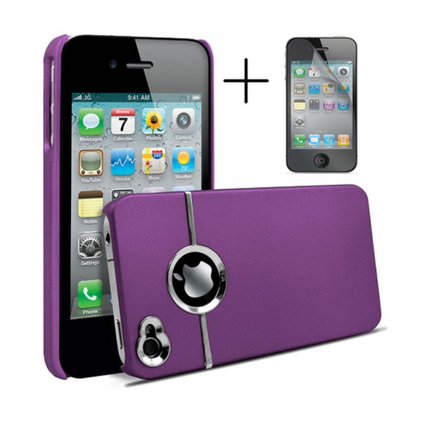 Chrome Series Hard Rubberised Case for iPhone 4/4S + Screen Protector - Purple