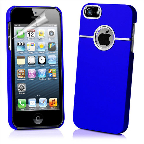 Chrome Series Hard Rubberised Case for iPhone 5 + Screen Protector - Blue