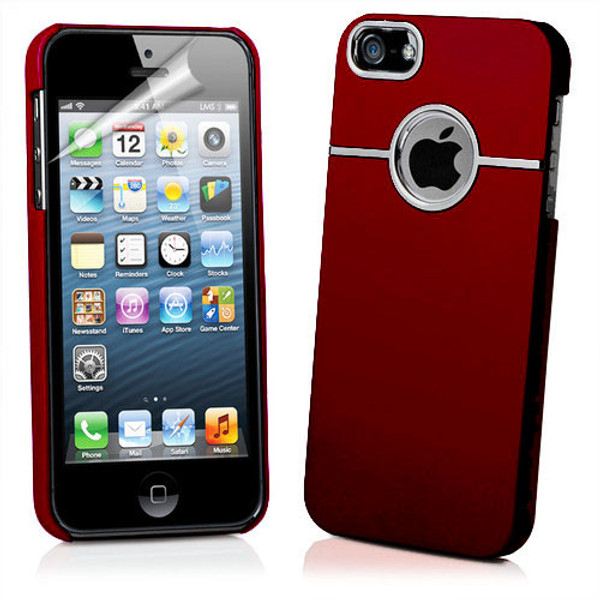 Chrome Series Hard Rubberised Case for iPhone 5 + Screen Protector - Red