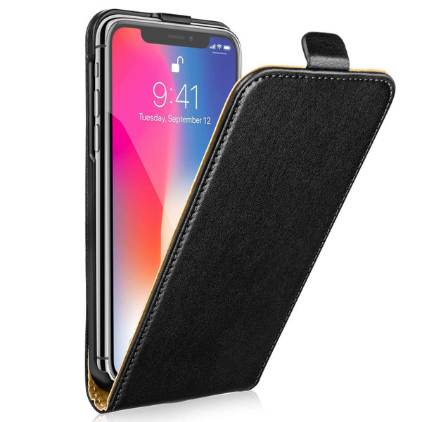 Black Flip real leather case for iPhone 5/5s/SE
