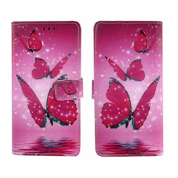 Stk Ace Plus Stylish PU Leather pink  butterfly leather wallet case