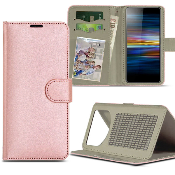 Rose gold For Sony Xperia L4 (2020)Case Magnetic Leather Wallet Flip Case Folio Book Cover