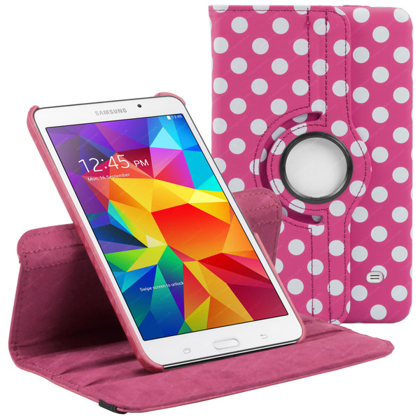 Deep Pink & White Polka Dot PU Leather 360 Rotating Case for Samsung Galaxy Tab 4 Nook 7.0 (T230)