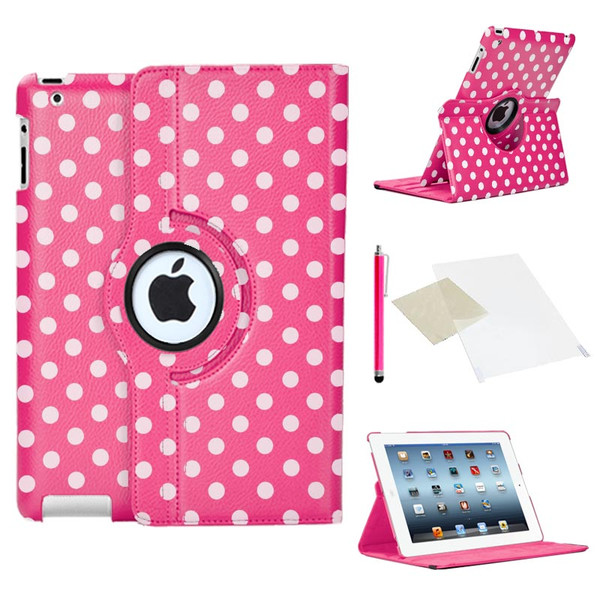 Deep Pink With White Polka Dot PU Leather 360 Rotating Case for iPad 2/3/4