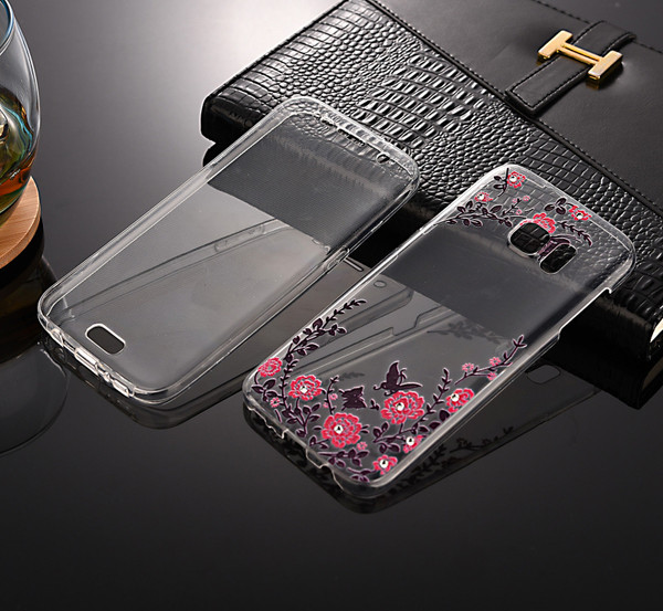 Front + back 360 TPU Bling Protective Clear Pink Flower Gel Case For Samsung S7 Edge