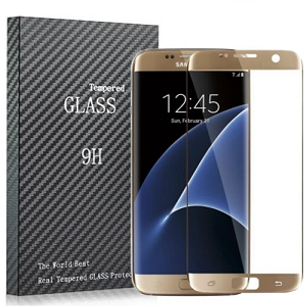Full Curved 3D Tempered Glass Screen Protector For Samsung Galaxy S7 Gold