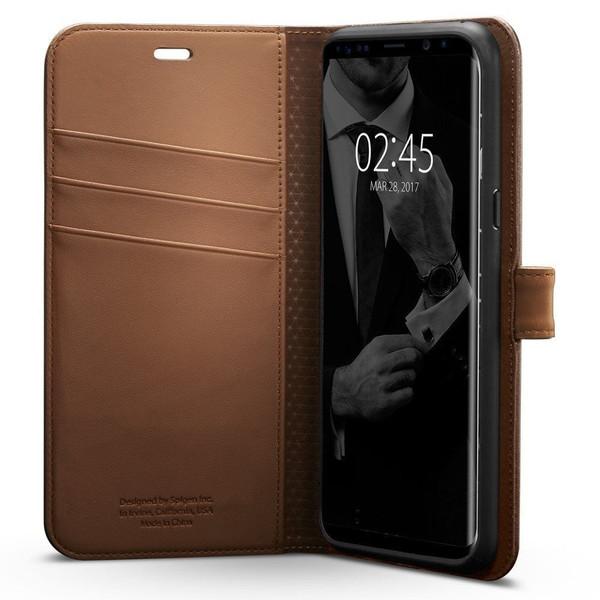 Galaxy S8 Plus Case, Spigen Wallet  Cover - Brown