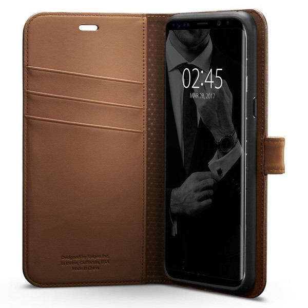Galaxy S8 Case, Spigen Wallet  Cover - Brown