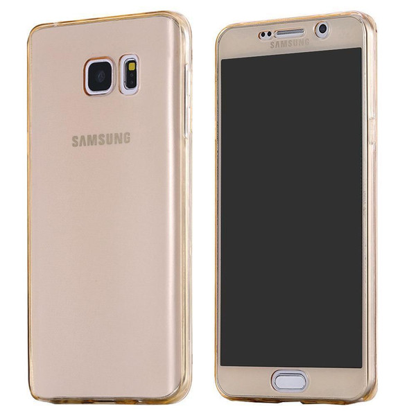 Gold Samsung S7 Edge Shockproof 360 Silicone Protective Soft Clear Case Cover