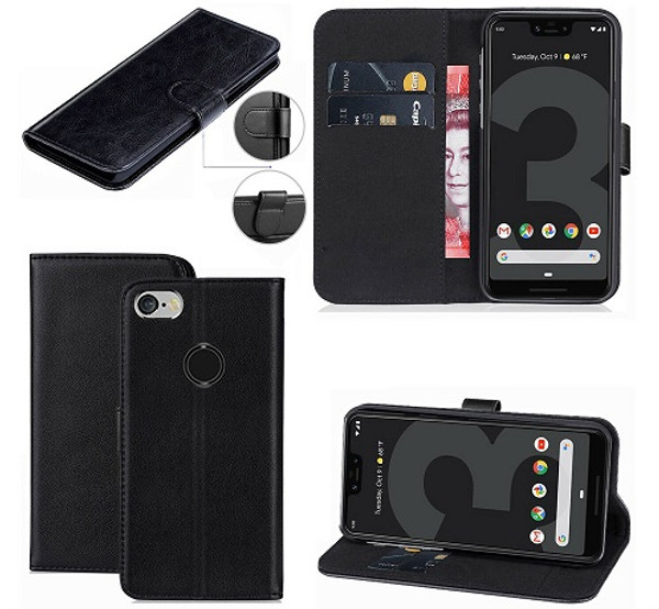 Google Pixel 3a Black Leather Wallet Stand View Flip Case Cover