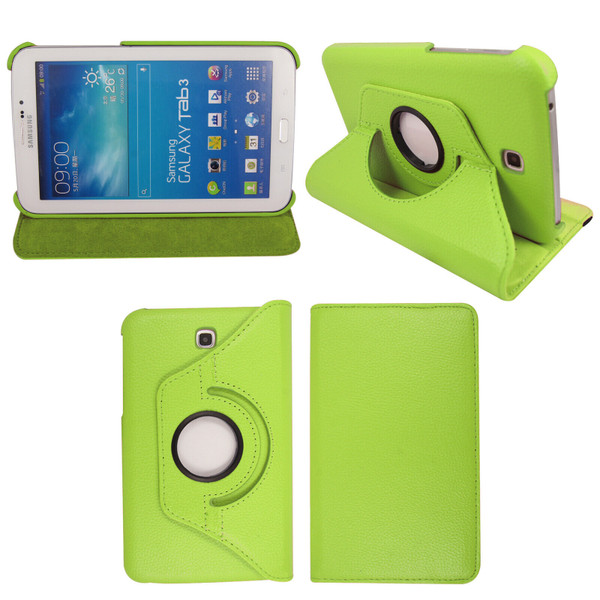 Green PU Leather 360 Rotating Case for Samsung Galaxy Tab 3 7.0 (T210/P3200)