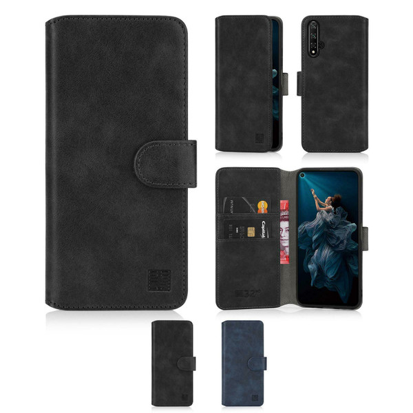 Honor View 20 Black Leather Wallet Case Cover