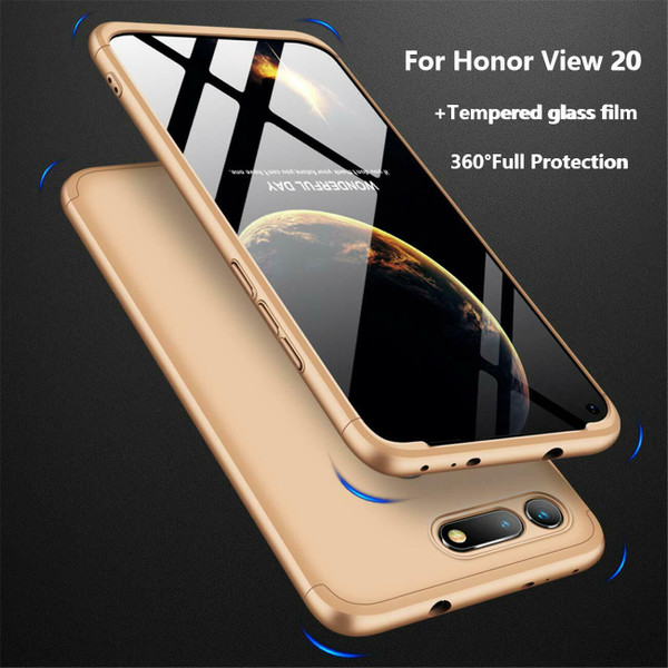 Honor View 20 Gold Protective Hybrid Case + Tempered Glass Cover