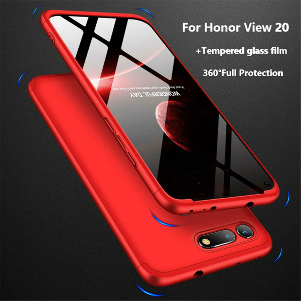 Honor View 20 Red Protective Hybrid Case + Tempered Glass Cover
