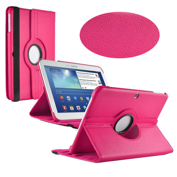 Hot Pink PU Leather 360 Rotating Case for Samsung Galaxy Tab 3 10.1 (P5200/P5210)