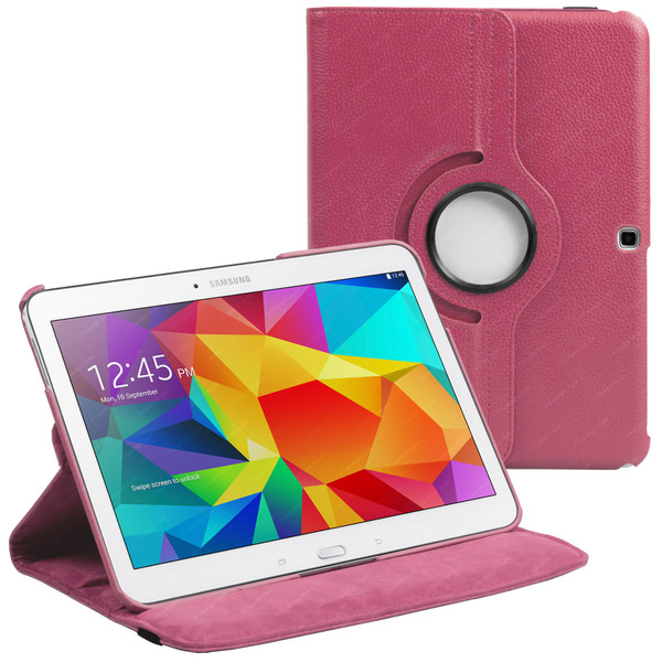 Hot Pink PU Leather 360 Rotating Case for Samsung Galaxy Tab 4 Nook 10.1 (T530)