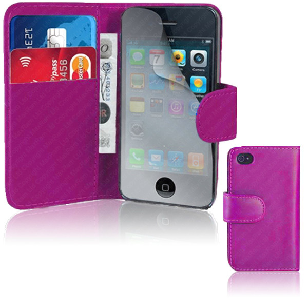 Hot Pink PU Leather Wallet with Card Holder for iPhone 5