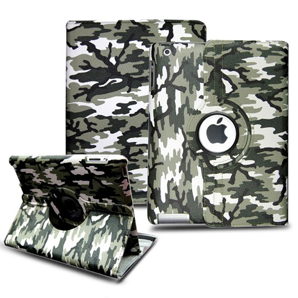 Ipad 2/3/4 Army  Green Camouflage  360 Rotating Case.