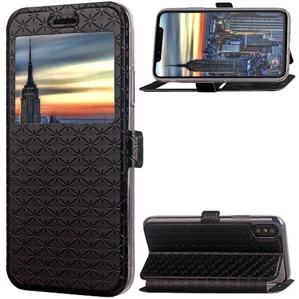 iPhone X Black  Pu leather window view case