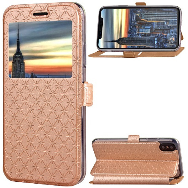 iPhone X Gold  Pu leather window view case