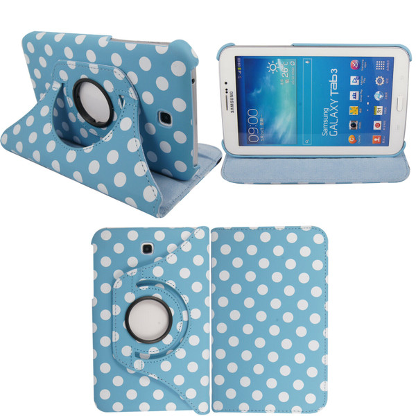 Light Blue & White Polkadot PU Leather 360 Rotating Case - Samsung Galaxy Tab 3 7.0 LITE (T110/T111)