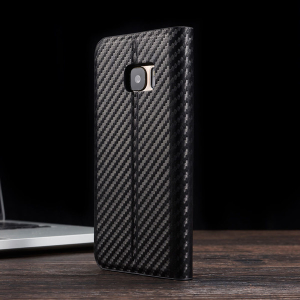 Magnetic Carbon PU Leather Flip Wallet Phone Case For S8 Plus