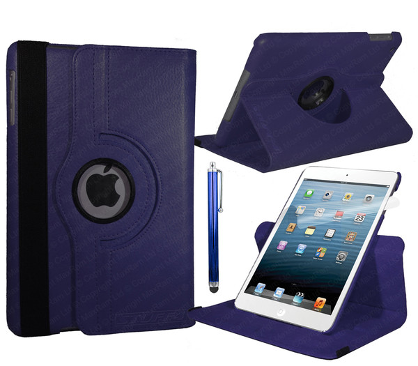 Navy Blue PU Leather 360 Rotating Case for iPad Air 2