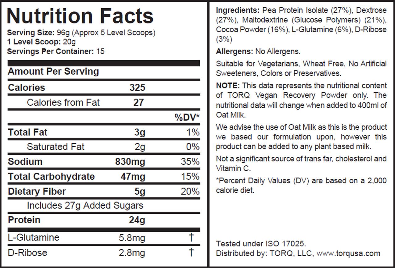 TORQ Vegan Recovery Drink - Creamy Cocoa