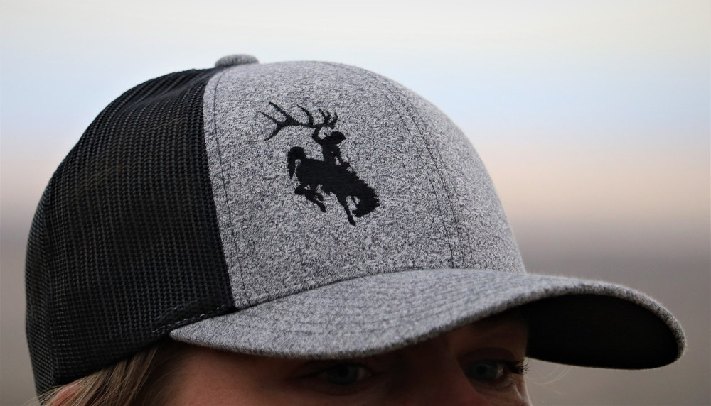 Heather Gray Low Profile with Black Bucking Horse