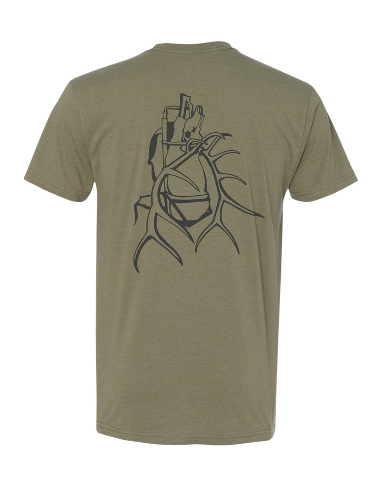"""Get Western """"Tagged Out"""" Wapiti T Shirt - Olive/Charcoal"""