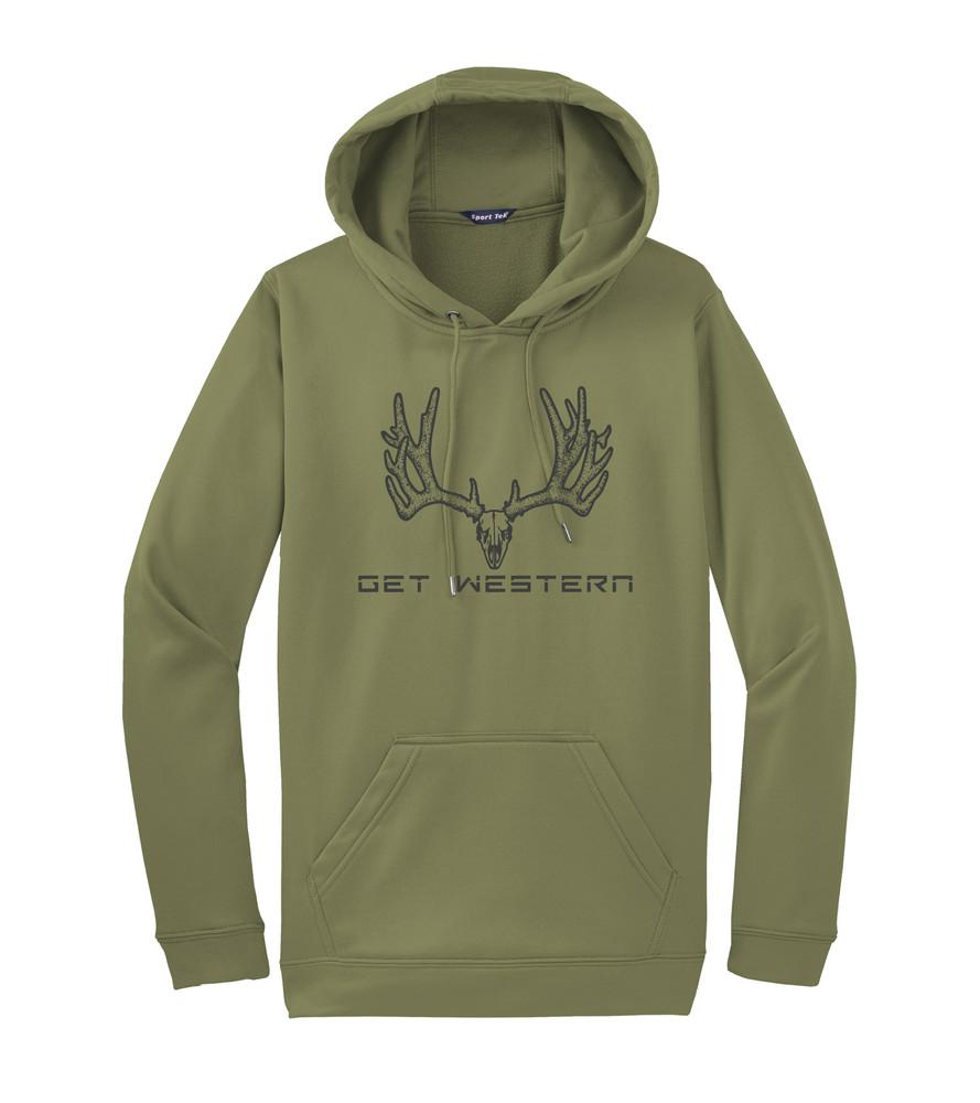 Get Western Velvet Muley Hoodie - OD Green