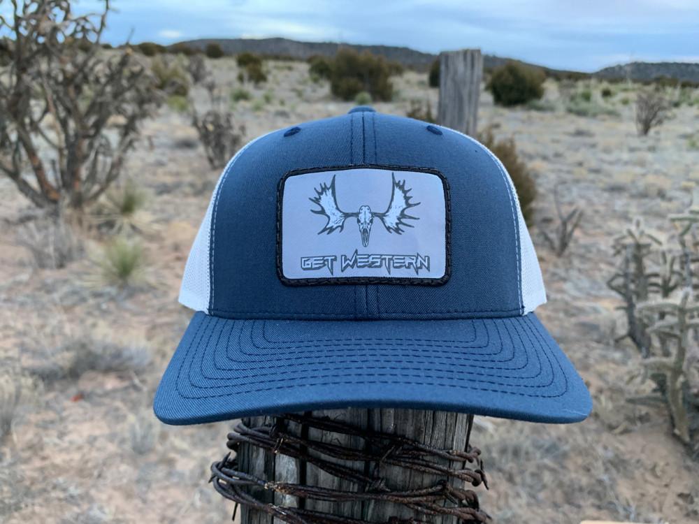 Get Western Moose Patch Hat - Navy/Aluminum
