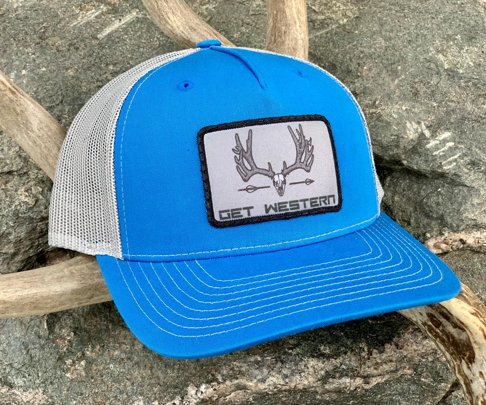 Get Western Velvet Muley Patch Hat - Cobalt Blue & Aluminum