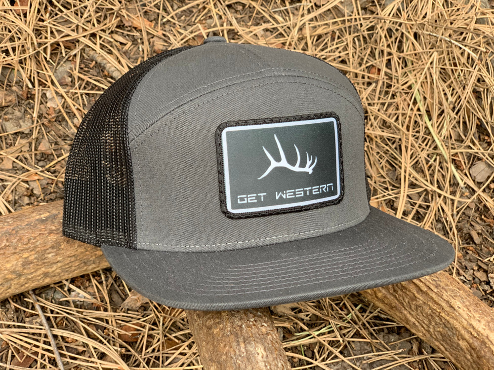 Get Western Elk Shed Patch Flatty - Charcoal/Black 7 Panel