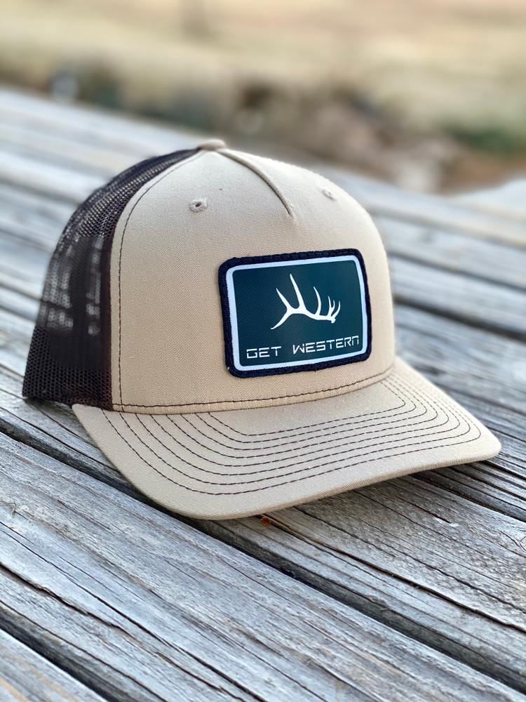 Get Western Elk Shed Black Patch Hat - Khaki & Coffee